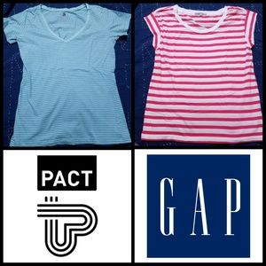 Tops - 2 like new Pact/Gap short sleeve bundle